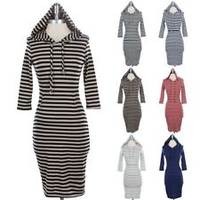 WOMEN'S Striped Hooded 3/4 Sleeve MIDI KNIT Dress Kangaroo Pockets Cotton S M L