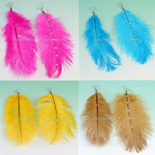 Pair Colors Ostrich Feather Resin Crystal Dangle Hook Earring Fashion Jewelry
