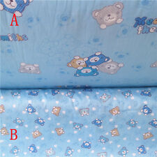 50x160cm Cotton Twill Fabric Quilt Bedding Home Deco Bear AB Blue NT05 G#