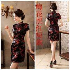 Black/Red Women's Silk Mini Dress /Cheongsam size S M L XL XXL 3XL 4XL 5XL 6XL