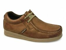 Base London STORM Mens Waxy Leather Breathable Lace Up Moccasin Casual Shoes Tan