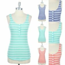 Striped Sleeveless Scoop Neck Top with Front Buttons Casual Cotton Spandex S M L