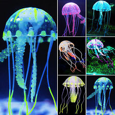Glowing Artificial Plastic Jellyfish Fish Tank Aquarium Ornament Decoration New