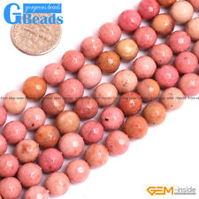 "Natural Rhodochrosite Gemstone Faceted Round Beads Free Shipping 15"" 8mm 12mm"