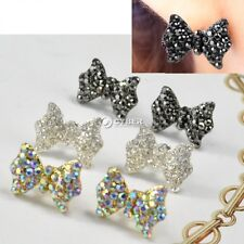 Women Lovely Cute Rhinestone Crystal Bowknot Bow Tie Earrings Ear Studs