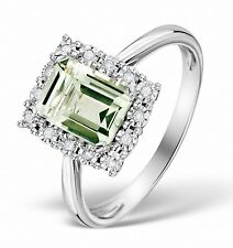 9K White Gold 0.07ct Diamond & Green Amethyst Ring Size K-S Made in London