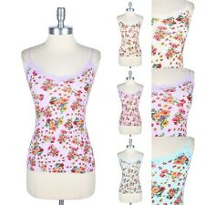 Floral Print and Lace Neckline Camisole Spaghetti Strap Tank Top Basic Easy Wear