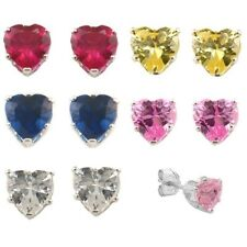 0.65CT HEART BRILLIANT STONE 925 SILVER EARRING (5 PAIRS - LOTS SAME COLOR)