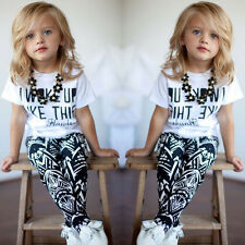 Baby Girls Kids Clothes Short Sleeve T-Shirt+Striped Pants 2Pcs Outfits Set 1-6Y