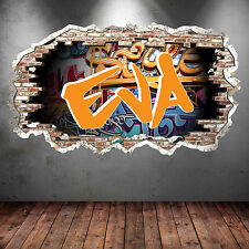 NEON CRACKED Wall PERSONALISED GRAFFITI NAME UV Wall Art Sticker Graphic