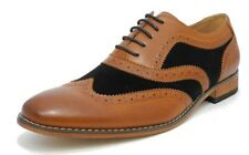 Mens Black Tan Leather Lined Lace Up Smart Brogues Gatsby Two Tone Shoes Spats
