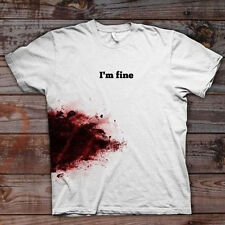 Printing I'm Fine Blooded Funny T-shirt Women's Cotton Tee Shirt Top Fashion