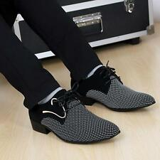 New Casual  Mens Pointy Toe Dress Lace up Low Heels Formal Office Wedding Shoes
