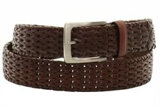 Florsheim Men's Cognac Hand Woven Genuine Leather Belt