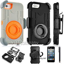 For iPHONE SE 5 5S 5G HARD SOFT COMBO CASE COVER KickSTAND & Belt Clip HOLSTER
