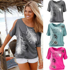 Women Summer Casual Off Shoulder Round Neck Printed Feather Tops Blouse T-Shirt