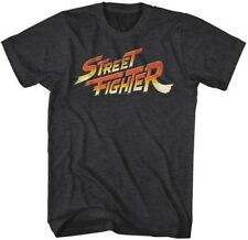 T-Shirts Sizes S-2XL New Mens Street Fighter Logo Black Heathered T-Shirt