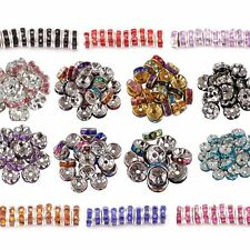 100pcs Silver Plated Rondelle Crystal Rhinestone Beads Spacer 6mm Findings