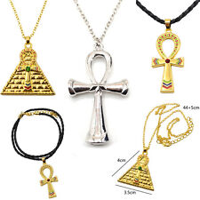 Retro Vintage Egyptian Ankh pyramid Cross Symbol Of Life Pendant Necklace Charm