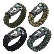 Paracord Survival Bracelet Compass Flint Fire Starter Whistle Camping Gear Kit