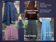 CUSTOM Ladies & Plus long full tiered blue jean skirt denim pick size & color