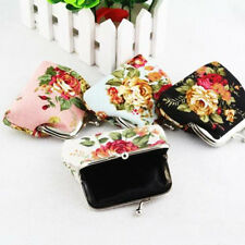 Elegant Lady Floral Small Clutch Wallet Bags Coin Change Purse Hasp Canvas Gift