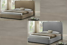 FULL DOUBLE SIZE DESIGNER BED FRAME GRAY BEIGE LINEN MODERN WING BACK HEADBOARD
