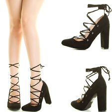 Black Criss Cross Wrap Tie Lace Up Strappy Chunky Thick High Heel Pump Sandal US