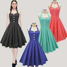 1950s 60's Vintage Halter Swing Pin Up Party Dress Womens 2016 Lady Bubble Skirt