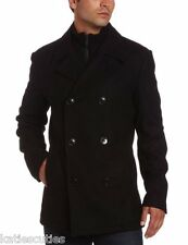 NEW MENS KENNETH COLE REACTION DOUBLE BREASTED BLACK WOOL PEACOAT XL