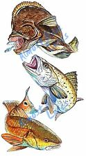 Marine Ocean Art Red Trout Flounder Vinyl Fish Decal - Car Home Truck SUV Boat