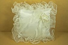 SATIN Fabric & Ruffled ORGANZA Trim Wedding RING PILLOW CHOOSE Ivory or White