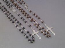 Men's Rosary - Wood Beads w Silver Chain & Crucifix MASCULINE Sharp! Nice Gift!