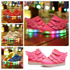 Boys Girls LED Light up USB Charger Velcro Sneakers Wings High help Kids Shoes