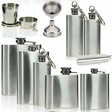 2 4 6 8oz Stainless Steel Hip Flask Pocket Whisky Liquor Vodka Holder Funnel Cup