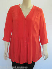 Autograph Ladies 3/4 Sleeve Pleat Front Shirt sizes 14 16 18 20 24 Colour Orange