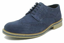 Mens Blue Suede Brogues Shoes Roamers Navy Lace Up Real Leather Size 6-12