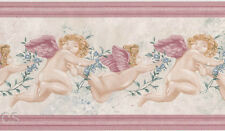 Cupid Pink Winged Cherub Antique Rose Flower Vines Flying Wallpaper Wall  Border