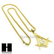"316L STAINLESS STEEL GOLD SILVER FREEMASON CZ PENDANT 24"" BOX CHAIN NECKLACE 243"
