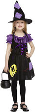 Childs Kids Purple Witch Halloween Horror Fancy Dress Costume Age 4 - 12