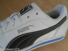 PUMA TRAINERS SIZE 5 OLDER BOYS WHITE LEATHER / BLACK PUMA FLASH IMMACULATE COND