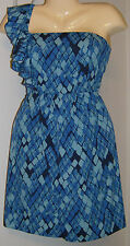 Gianni Bini Cocktail Dress One Shoulder Blue Black Lined Sizes 0 2 4 6 8 10 12