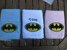 Embroidered personalised Batman logo flannel face cloth any name of your choice
