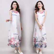 Summer Boho Women Casual Cotton Linen A Line Sleeveless Floral Tunic Long Dress