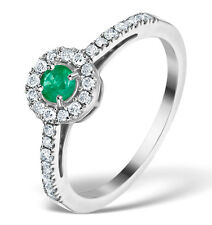 Emerald and Diamond White Gold Ring Halo Engagement   Appraisal Certificate