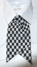 Ex Police Ladies Clip On Cravat Black and White (Silver) Check Blue Burgundy