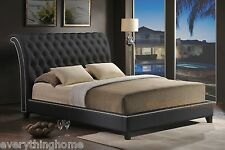 QUEEN KING SCROLLBACK SLEIGH BED BLACK FAUX LEATHER TUFTED SILVER NAIL HEAD TRIM