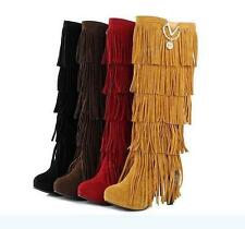 Womens High Heel Fringe/Tassel Suede Metallic Platform Winter Boots Shoes Size