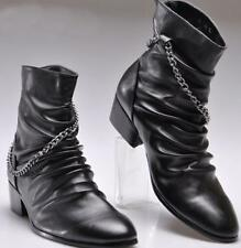 Mens High top Casual Punk Rock New Pointed Toe Chains Zipper Ankle Boots Size