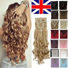 UK Full Head 8pcs 18clips Clip in on Hair Extensions Real thick human synthetic